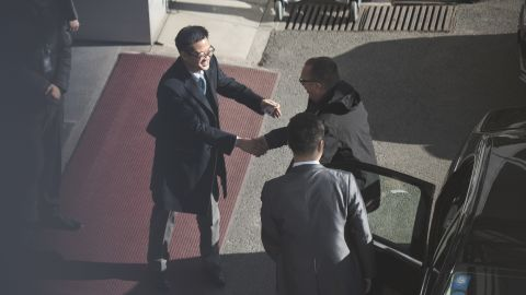 UN under secretary general for political affairs Jeffrey Feltman (R) arrives to take a flight for North Korea at the International Airport of Beijing on December 5, 2017.  UN official will travel to North Korea this week for talks with officials there, a UN spokesman said December 4, 2017, amid heightened tensions over Pyongyang's nuclear and ballistic missile programs. The unusual visit by Jeffrey Feltman, comes less than a week after North Korea test-fired an intercontinental ballistic missile believed capable of reaching the United States. / AFP PHOTO / FRED DUFOUR        (Photo credit should read FRED DUFOUR/AFP/Getty Images)