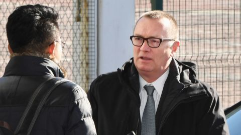 UN Undersecretary- General for Political Affairs Jeffrey Feltman arrives at Beijing's international airport on Tuesday, on his way to North Korea.