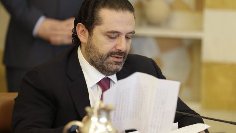 Lebanese Prime Minister Saad Hariri attends a cabinet meeting at the presidential palace of Baabda, east of the capital Beirut, on December 5, 2017. / AFP PHOTO / JOSEPH EID        (Photo credit should read JOSEPH EID/AFP/Getty Images)