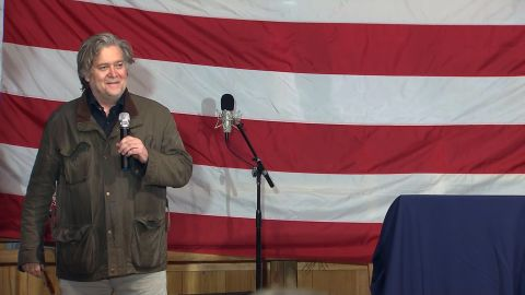 Steve Bannon takes the stage at a Roy Moore rally on December 5, 2017.