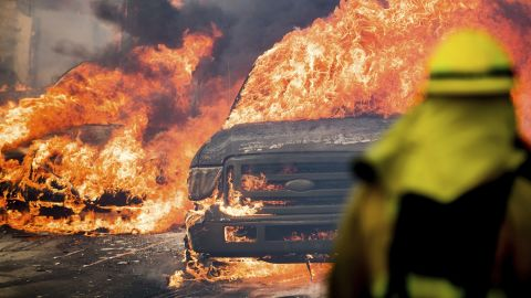 Flames consume vehicles in Ventura on Tuesday, December 5.
