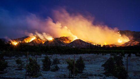The Thomas Fire burns along a hillside near Santa Paula on December 5.