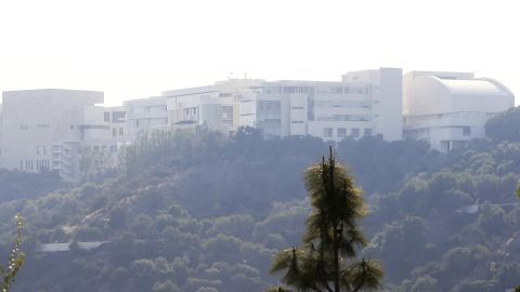 The Getty Center lies shrouded in smoke as seen from the Bel-Air district of Los Angeles after the Skirball Fire swept through on Wednesday.