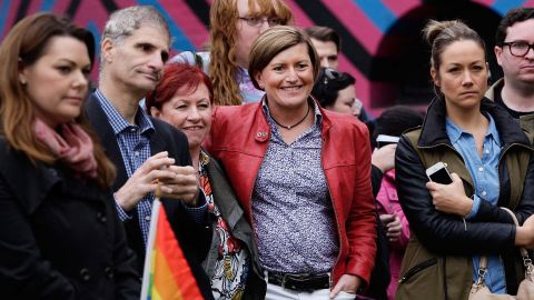 Christine Forster, center, and her partner Virginia Edwards, third from left, attend a rally in support of marriage equality in May 2015 in Sydney.