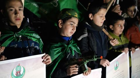 """At a demonstration organized by Hamas in Gaza on Wednesday evening, Palestinian children held signs reading: """"Jerusalem is the Palestinian capital."""""""