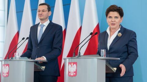 Prime Minister Beata Szydlo, right, is being replaced by Finance Minister Mateusz Morawiecki, left.