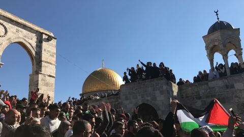 Demonstrators chant after Friday prayers at the al-Aqsa mosque in Jerusalem.