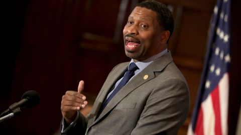 WASHINGTON, DC - AUGUST 29:  NAACP President Derrick Johnson addresses the Newsmaker Luncheon at the National Press Club August 29, 2017 in Washington, DC. Johnson said that violent rallies like what happened in Charlottesville, Virginia, will happen again as long as President Donald Trump is in office and projects a permissive attitued about white nationalism.  (Chip Somodevilla/Getty Images)