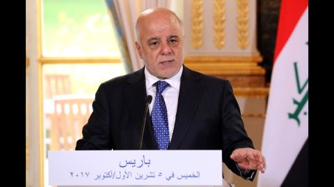 Iraqi Prime minister Haider al-Abadi during a joint press conference with French president Emmanuel Macron at the Elysee palace in Paris, Thursday, Oct. 5, 2017. Macron offers mediation between Iraq's government and Kurds seeking independence. (Ludovic Marin, Pool via AP)