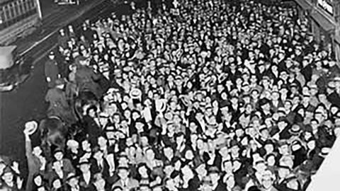 A crowd in New York City celebrates the repeal of Eighteenth Amendment on December 5, 1933.