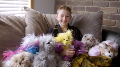 One of nine siblings, Campbell taught himself to sew by trial and error, using patterns he found online. He delivers bears to children in the hospital and sends them to others around the world. His shelves are full of dozens of bears getting ready to go off to the hospital this Christmas.