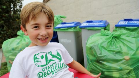 """Ryan Hickman is <a href=""""http://www.cnn.com/2017/03/09/us/recycling-boy-trnd/index.html"""">passionate about recycling</a>. After he learned about the process, he began by collecting his neighbors' recyclables. Soon family members and friends were saving their bottles and cans for him, too. The 8-year-old's efforts have since become a thriving, community-wide business that has recycled more than 275,000 cans and bottles -- a total of 60,000 pounds, and counting. Every week, he sorts through recyclables from his """"customers"""" all over Orange County. He and his parents take them by the truckload to the local redemption center."""