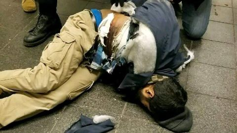 Akayed Ullah fell to the ground after the incident.