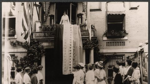 When Tennessee ratified the Nineteenth Amendment, Alice Paul, National Chairman of the Woman's Party, unfurled the ratification banner from Suffrage headquarters.