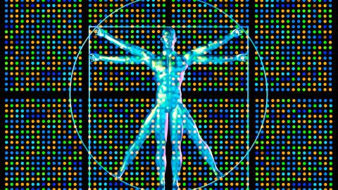 Genetic research. Computer artwork showing a DNA microarray and Leonardo da Vincis vitruvian man.