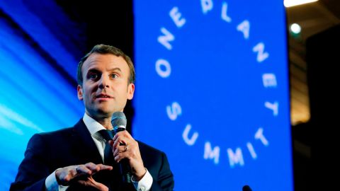 French President Emmanuel Macron delivers a speech during the 'Tech for Planet' event at the 'Station F' start-up campus ahead of the One Planet Summit in Paris on December 11, 2017.  / AFP PHOTO / POOL / PHILIPPE WOJAZER        (Photo credit should read PHILIPPE WOJAZER/AFP/Getty Images)