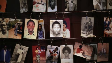 Family photos of victims of the 1994 Rwanda genocide hang inside the Kigali Genocide Memorial Centre