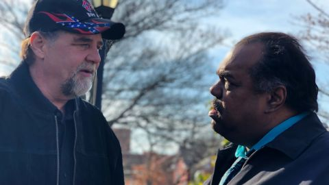 Blues musician Daryl Davis and Imperial Wizard Billy Snuffer of the Rebel Brigade Knights were having a conversation in Charlottesville, near the courthouse where a hearing was to happen in relation to the violence in August.