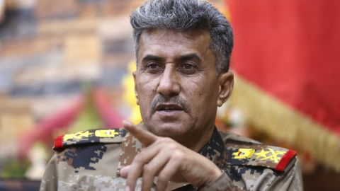 Lt. General Abdul-Wahab al-Saadi, commander for the Iraqi counterterrorism forces' operation to re-take Fallujah from Islamic State militants, speaks at a military camp outside Fallujah, Iraq, Monday, June 27, 2016.