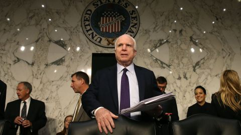 WASHINGTON, DC - JULY 21:  Chairman John McCain (R-AZ) arrives at US Army Gen. Mark A. Milley Senate Armed Services Committee confirmation hearing on Capitol Hill, July 21, 2015 in Washington, DC. If confirmed by the US Senate Gen. Milley will become Chief of Staff of the Army.  (Photo by Mark Wilson/Getty Images)