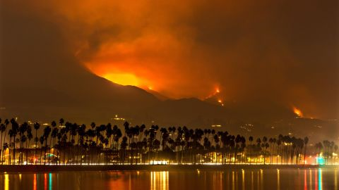 Fire, smoke and ash from the Thomas Fire blanket  Santa Barbara on Wednesday, December 13.