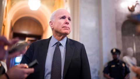 """UNITED STATES - APRIL 6: Sen. John McCain, R-Ariz., talks with reporters before a vote in the Senate where they invoked the """"nuclear option"""" which allows for a majority vote to confirm a Supreme Court justice nominee, April 6, 2017. The vote for nominee Neil Gorsuch is scheduled for Friday. (Photo By Tom Williams/CQ Roll Call)"""