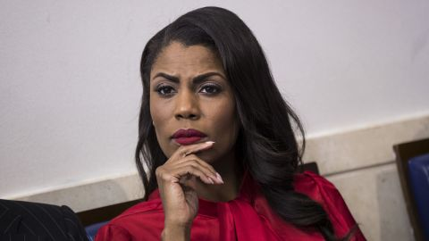 WASHINGTON, DC - OCTOBER 27: Director of Communications for the White House Public Liaison Office Omarosa Manigault Newman listens during the daily press briefing at the White House, October 27, 2017 in Washington, DC. (Drew Angerer/Getty Images)