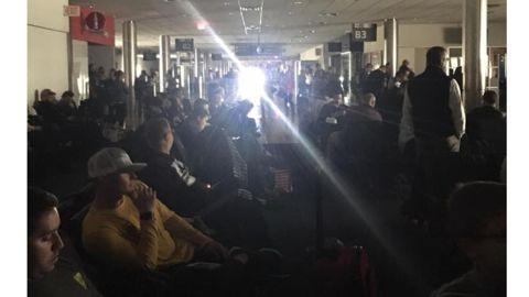 Darkness in parts of Hartsfield-Jackson Atlanta International Airport.