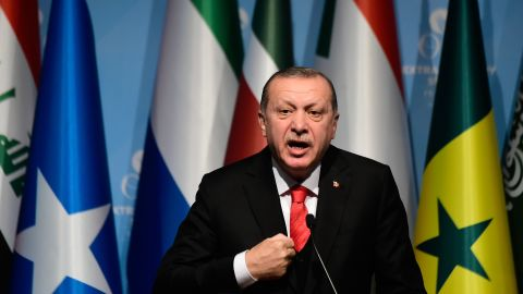 Turkish President Recep Tayyip Erdogan speaks as he holds a press conference following the Extraordinary Summit of the Organisation of Islamic Cooperation (OIC) on December 13, 2017, in Istanbul.