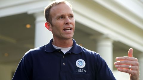 FEMA chief Brock Long, photographed after a meeting at the White House, says FEMA aren't and shouldn't be first responders.