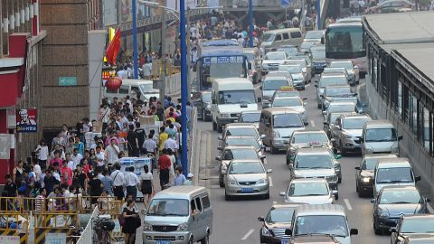 Guangzhou in the southern province of Guangdong is another Chinese city that has notoriously bad traffic. Here, heavy congestion is pictured downtown.