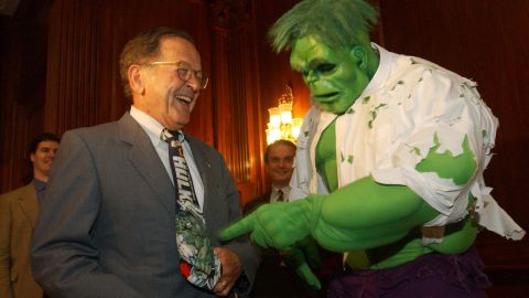 """UNITED STATES - JUNE 19:  THE HULK--Sen. Ted Stevens, R-Alaska, meets """"The Hulk"""" during a party at the U.S. Capitol hosted by Stevens, Marvel Enterprises and Universal Studios, in tribute to the release of Universal Studio's release of the film, """"The Hulk.""""  (Photo by Scott J. Ferrell/Congressional Quarterly/Getty Images)"""