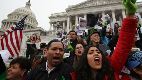 WASHINGTON, DC - DECEMBER 06: People who call themselves Dreamers, protest in front of the Senate side of the US Capitol to urge Congress in passing the Deferred Action for Childhood Arrivals (DACA) program, on December 6, 2017 in Washington, DC.  (Photo by Mark Wilson/Getty Images)