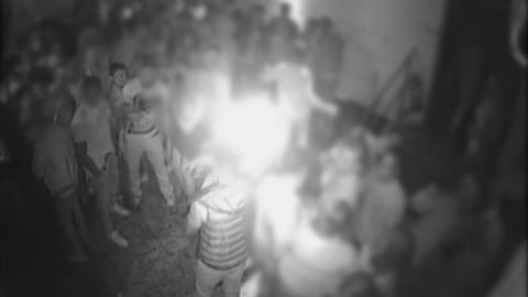 A still from security camera footage, which shows the altercation between Arthur Collins and an unidentified man