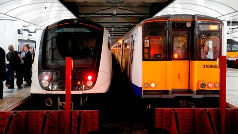 Pictured left, the new, streamlined trains, compared to a current models, right.