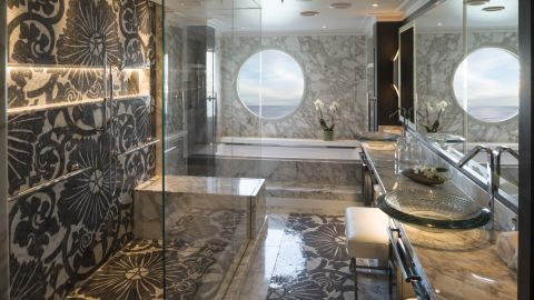 The master bathroom features a heated marble bench in the glass shower, lest your buns get chilly, while you can also admire the ocean view from your Duravit flotation tub.