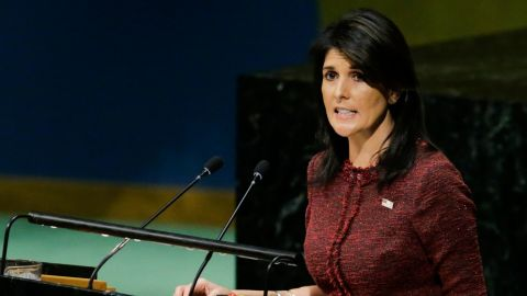 United States Ambassador to the United Nations, Nikki Haley, addresses the General Assembly prior to the vote on Jerusalem, on December 21, 2017, at UN Headquarters in New York. UN member-states were poised to vote on a motion rejecting US recognition of Jerusalem as Israel's capital, after President Donald Trump threatened to cut funding to countries that back the measure.  / AFP PHOTO / EDUARDO MUNOZ ALVAREZ        (Photo credit should read EDUARDO MUNOZ ALVAREZ/AFP/Getty Images)