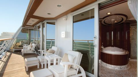 Amongst the 1,250 guests on board the Oceania Riviera, Owner's Suite occupants win the biggest suite prize hands-down thanks to more than 2,000 square feet of space.