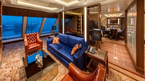 Perfect for families or groups of friends, the duplex Garden Penthouse aboard the Genting Dream sleeps up to six people in 2,400 square feet of luxury.