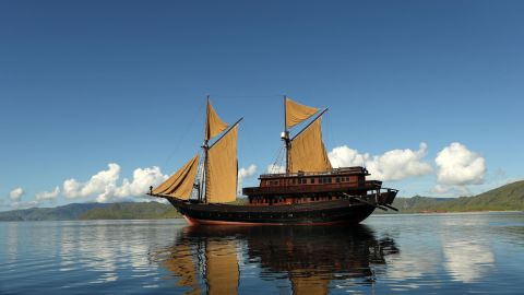Alila Purnama is a traditional Indonesian wooden two-masted boat bathed in luxury.