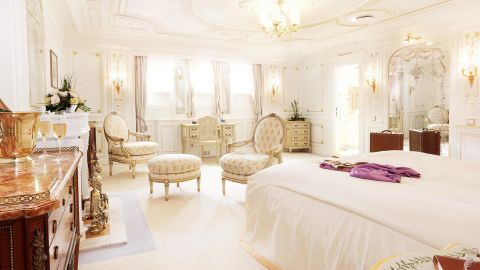 The Sea Cloud's second Owner's Cabin is on the opposite end of the spectrum, with a decidedly luxurious feminine appeal.