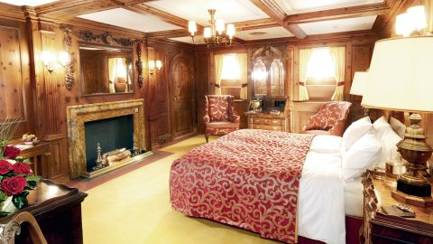 A floating windjammer palace built in 1931, the Sea Cloud features two Owner's Cabins. One features masculine wood paneling.