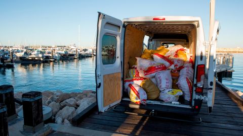 Bags of methamphetamine seen inside a white hire van. Australian authorities seized 1.2 metric tonnes of the drug in Western Australia.