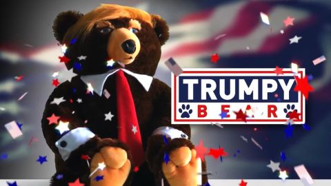 """Trump plus bear equals Trumpy Bear...bizarro gift of the holiday season. Jeanne Moos cuddles one.    Trumpy Bear   It's the perfect Christmas gift for...we're not sure who. You may or may not have ever seen the TV infomercial for Trumpy Bear and, even if you saw it, you probably couldn't tell if it was real. That's the joy of this story...the hilarious commercial hawking the plush stuffed bear with Donald Trump's hair and a flag that looks like a cape when you pull it out of the zipper pouch on his back. Only two easy payments of $19.95!   """"And no, this is not a joke"""",  writes the designer to CNN...""""I felt it was time to name an American fearless grizzly bear after our new Commander and Chief."""" The designer teamed up with a company that specializes in making TV infomercials and this is a classic. We have obtained our very own Trumpy Bear, who unfortunately can't tweet because he has no fingers. But what he lacks in digits, he more than makes up for with the red tie and unruly hair. Just stop everything and watch the commercial. Comes complete with a Certificate of Authenticity, which we play off against Trump demanding to see a certain birth certificate."""