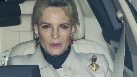 Princess Michael of Kent wears a blackamoor brooch to a lunch this week at Buckingham Palace.