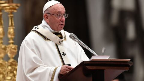 Pope Francis celebrates mass on Christmas eve at St. Peter's basilica in the Vatican.