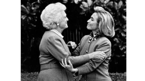 Then-first lady Barbara Bush gives Hillary Clinton a White House tour in 1992.