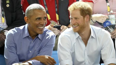 Former US President Barack Obama and Prince Harry attend the Invictus Games 2017 in Toronto, Canada, in September.