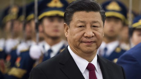 China's President Xi Jinping attends a welcoming ceremony for Gambia's President Adama Barrow (not pictured) at the Great Hall of the People in Beijing on December 21, 2017. The two countries re-established diplomatic relations in 2016 / AFP PHOTO / Nicolas ASFOURI        (Photo credit should read NICOLAS ASFOURI/AFP/Getty Images)