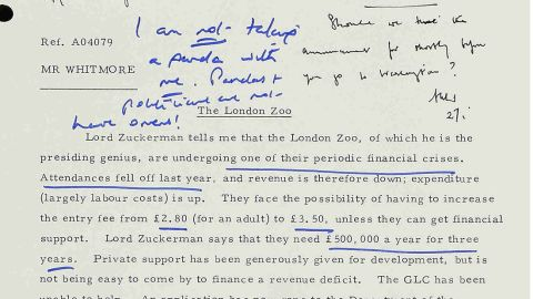Margaret Thatcher's hand-written notes in response to the request to take a panda on her plane.